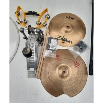 Zestaw perkusyjny blachy stojak stopa tamburino
