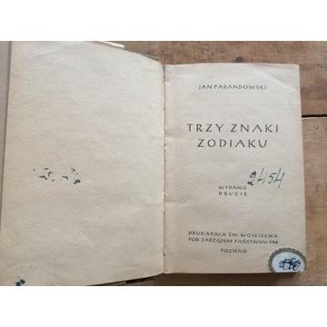 Stara książka TRZY ZNAKI ZODIAKU