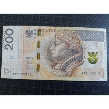 Banknot 200 zł seria AA super numer