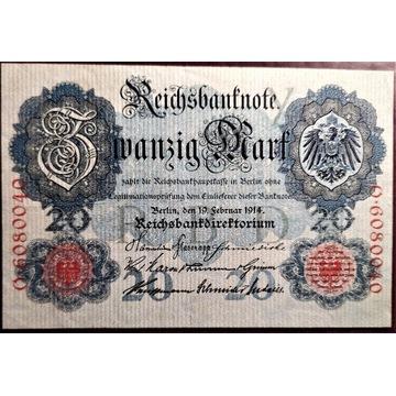 20 marek 1914 rok, stan 1 , UNC
