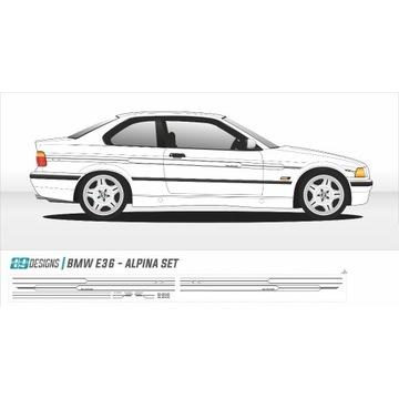 Naklejki dekory BMW E36 - dekor ALPINA bbs