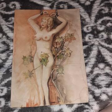 Obraz kobiety malowany ręcznie rok 1993