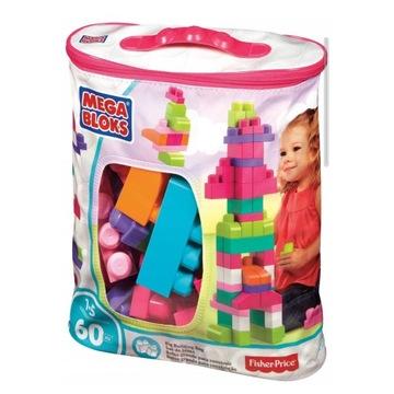 Mega Bloks, Torba różowa, klocki, 60 elementów