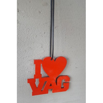 Zawieszka I LOVE VAG * sklejka 3mm, serce ****