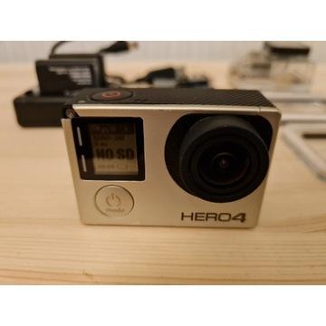 GoPro Hero 4 silver + 3 baterie + akcesoria