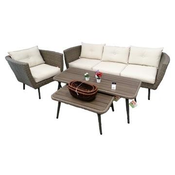 Zestaw ogrodowy, kanapa + fotel + stoliki