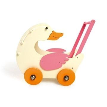 Stylowy wózek drewniany dla lalek gąska