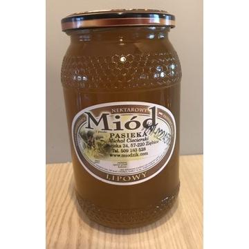 Miód Lipowy 2021r 0,9l 1,3kg świeży prosto z ula