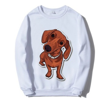 Bluza biała pies jamnik daschund S-XXL Różne wzory
