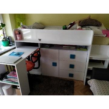 Łóżko piętrowe z szafą, półkami i biurkiem