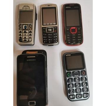 Telefony Komórkowe  5 Sztuk Nokia ,Samsung Itp.