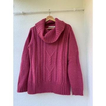 Różowy sweter typu golf warkocz wełna Oversize L