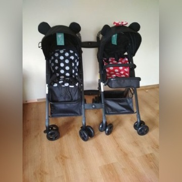 Wózek spacerówka podwójny bliźniaczy Mickey Minnie
