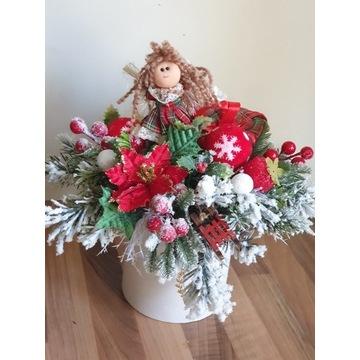 Kompozycja box stroik bożonarodzeniowy świąteczny