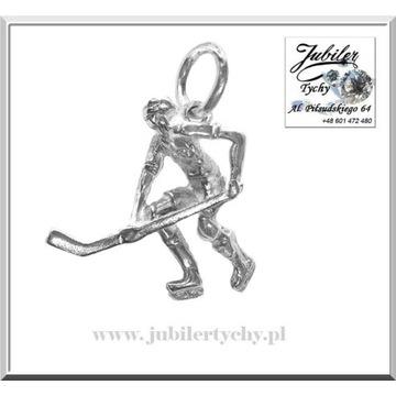 Srebrny wisiorek - hokeista srebro 925 hokej Tychy