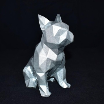 Buldog francuski 3D srebrny /handmade/rękodzieło
