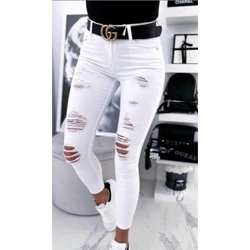 Spodnie jeansy rurki dziury xs 34
