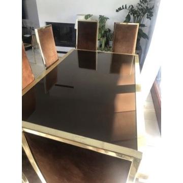 Designerski stół i 8 krzeseł antyk skóra złoto