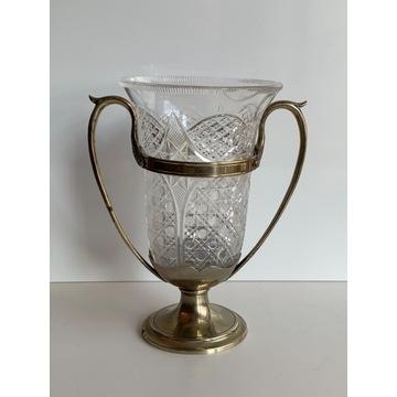 Kryształowy wazon w posrebrzanej oprawie sygn.