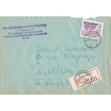 Mikołów - Koperty listów poleconych 1960-80