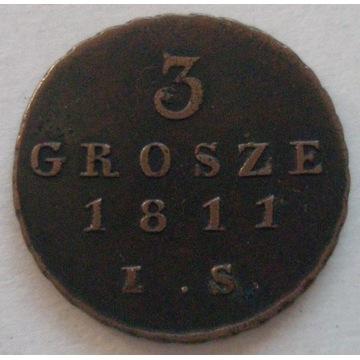 KSIĘSTWO WARSZAWSKIE, 3 GROSZE I.S. Stan 3+