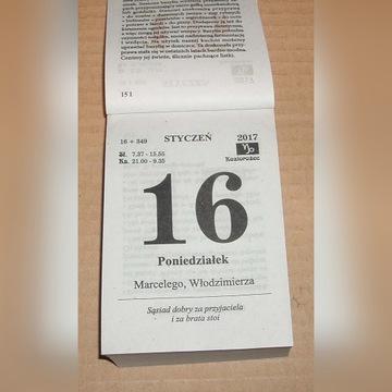 Kalendarz na 2017 rok Zdzierak Kartka z kalendarza