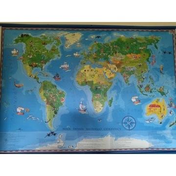 Mapa świata dla dzieci do powieszenia na ścianie