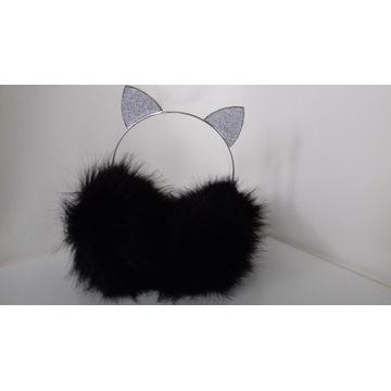 Nauszniki Opaska Uszy Kot Brokat Ocieplacz