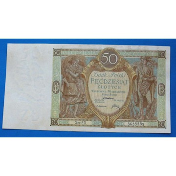 50 zł 1929 .Odmiana z obniżoną ostatnią cyfrą