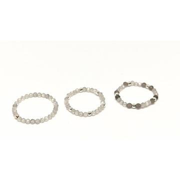 Pierścionek elastyczny kamienie labradoryt srebro