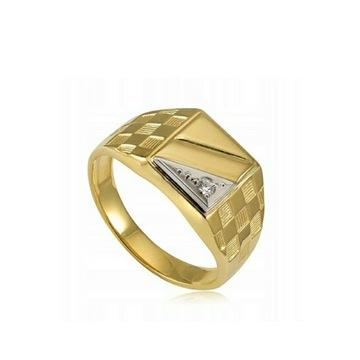 Sygnet męski żółte, białe złoto, cyrkonia,próba585