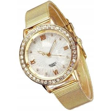 Delikatny zegarek damski z cyrkoniami Licytacja