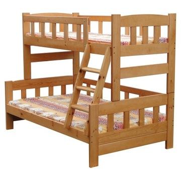 Łóżko piętrowe 3 os. 120x200 potężne dechy Wiking