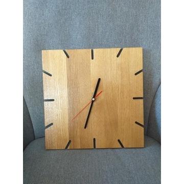 Zegar ścienny loft  lity dąb bezgłośny 30x30cm