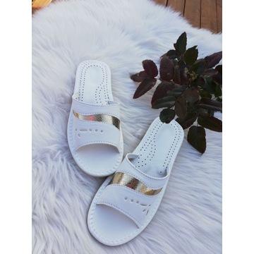 Kapcie damskie r.36 białe polskie pantofle Cudo