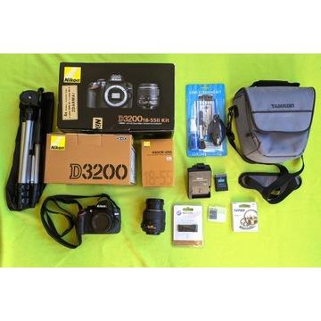NIKON D3200 18-55II kit - stan idealny + gratisy