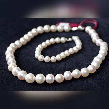 Naszyjnik z pereł naturalnych + bransoletka