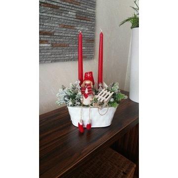 Dekoracja świąteczna sanki świece lalka