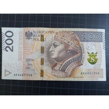 Banknot 200 zł seria AK super numer