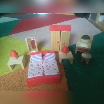 Drewniane mebelki dla lalek - sypialnia