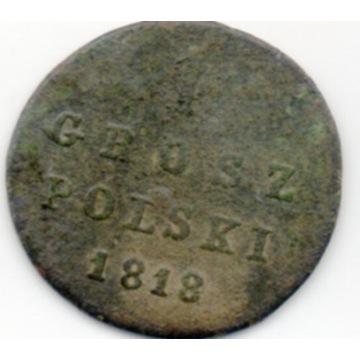 KRÓLESTWO POLSKIE 1 GROSZ POLSKI 1818 IB