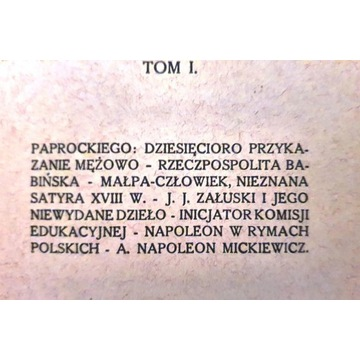 Kazimierz Bartoszewicz, Szkice, tom I, Kraków 1930