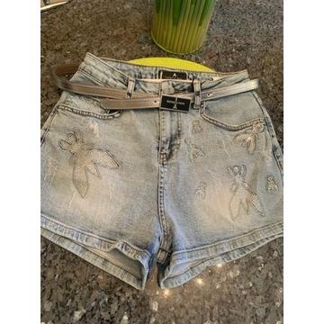 Patrizia Pepe Spodenki jeans z paseczkiem r.S/M