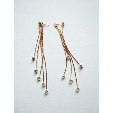 Długie złote kolczyki z cyrkoniami kolczyki ślubne