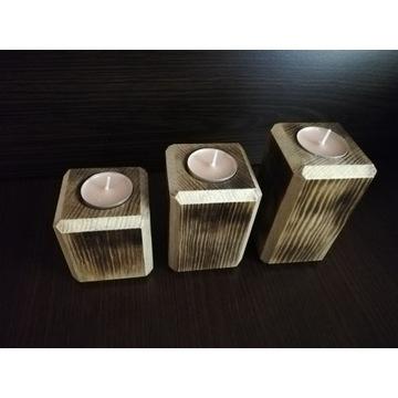 Świecznik drewniany potrójny