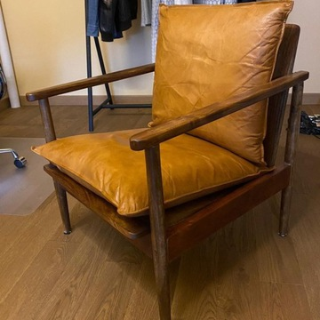 Fotel drewno i skóra