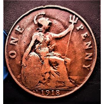 One  Penny  1918- KN- Anglia. Bardzo  rzadka z  KN