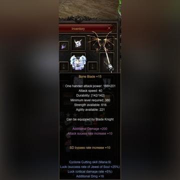 MU Online Midgard 2x Bone Blade +15+16+s+L+GRATIS