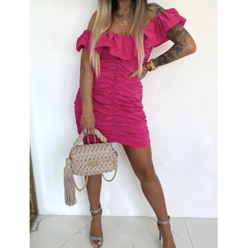 Sukienka  marszczona Marbella Fuksja   rozmiar M