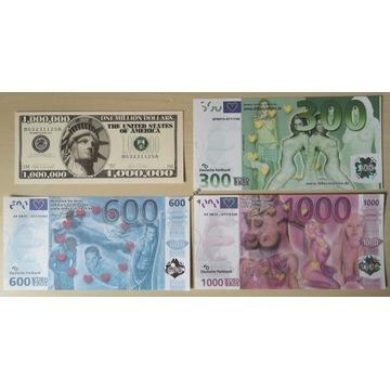 BANKNOTY fantazyjne Euro Eros + milion dolarów